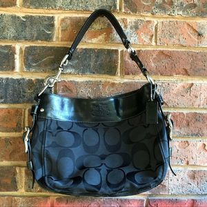 Black Coach Signature Hobo Shoulder Bag